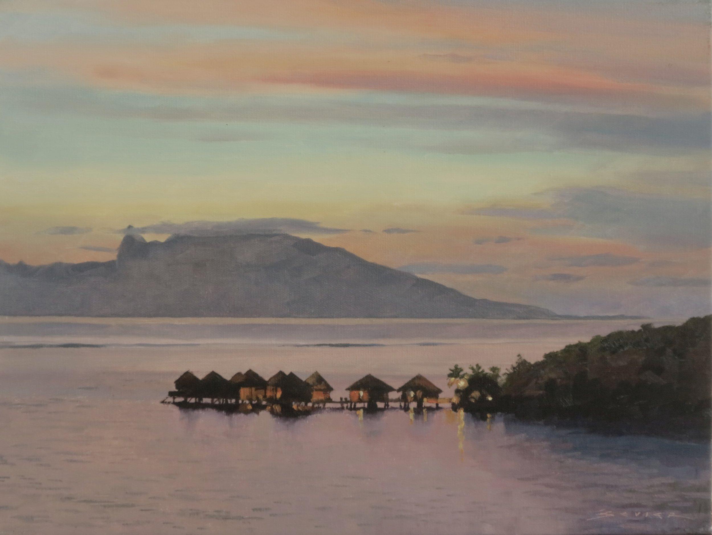 Moorea, Looking from Tahiti,  12 x 16, oil
