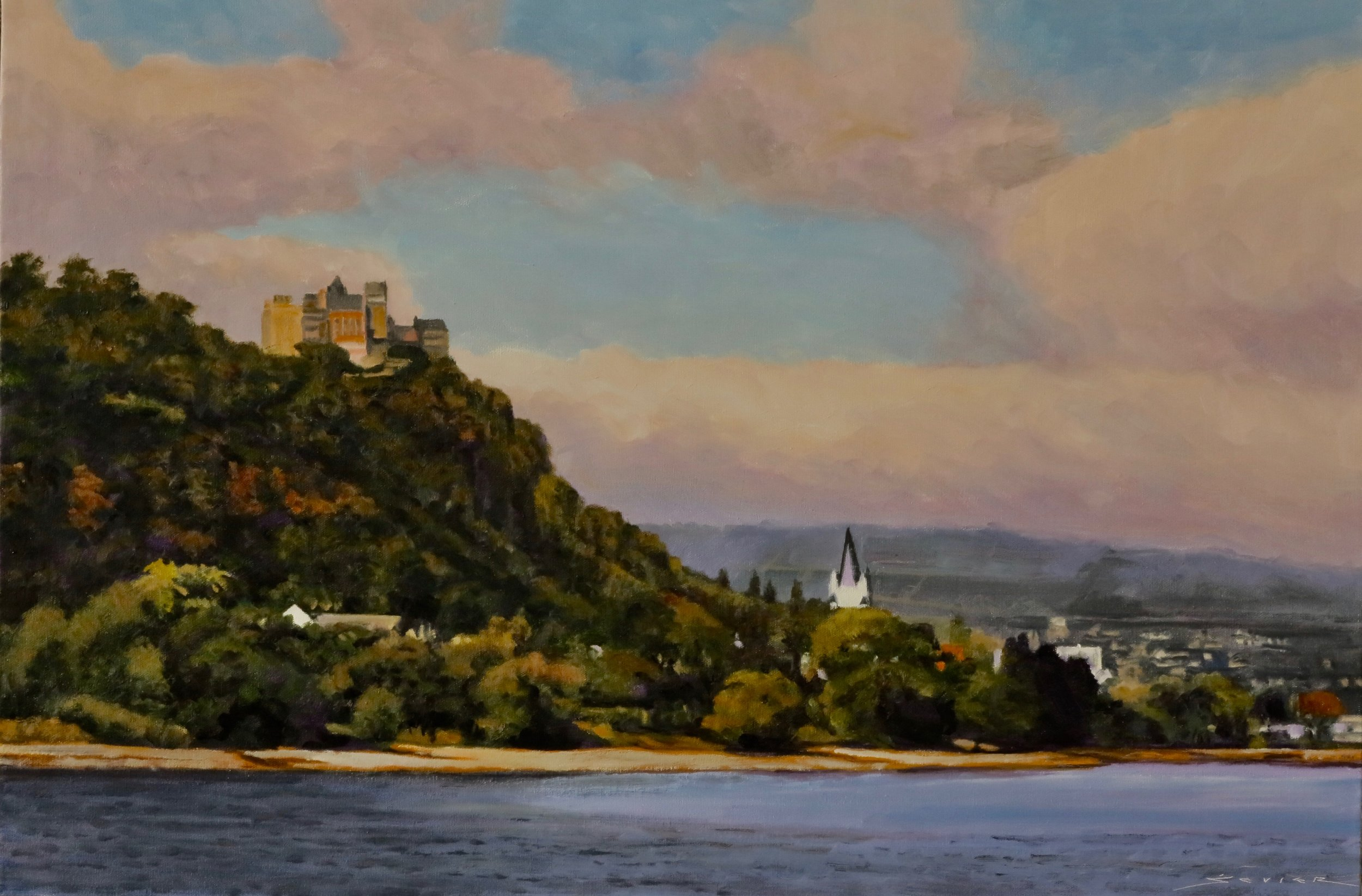 "Gutenfels Castle, Kaub Germany    20"" x 30"" oil"