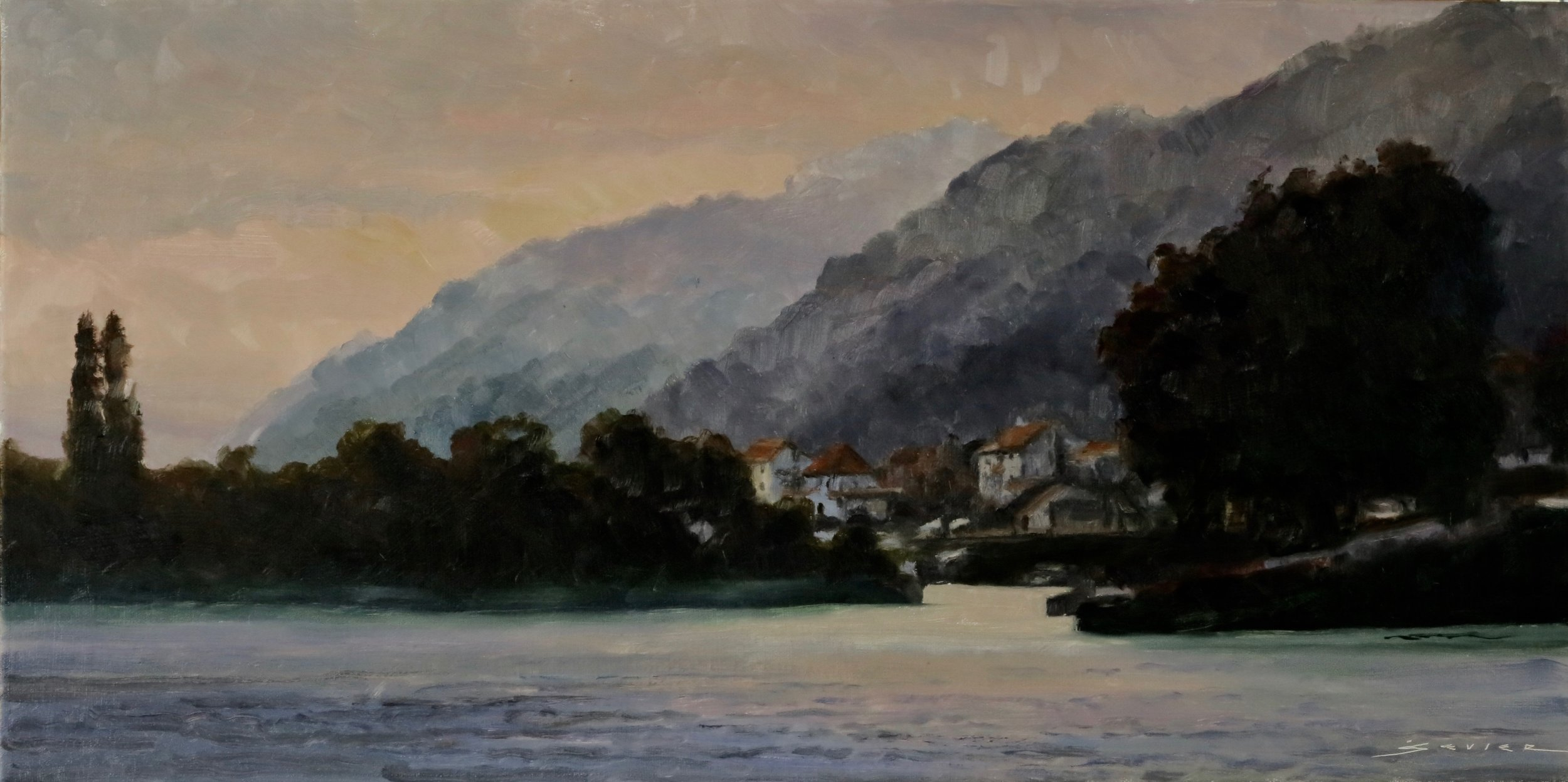 "Along The Rhine  12"" X 24"""