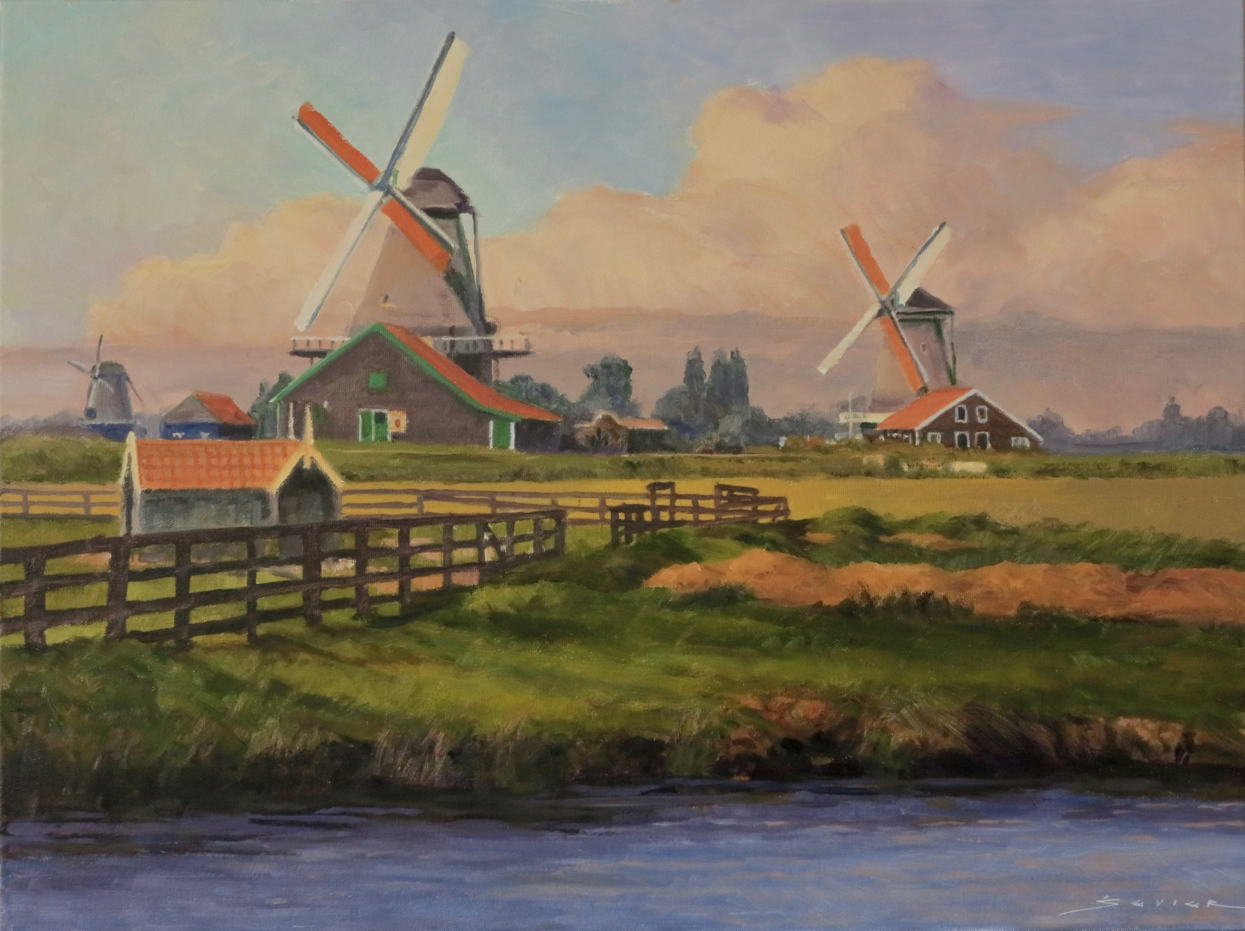 "Windmills at Zaanse Schans                           18"" x 24"" oil"
