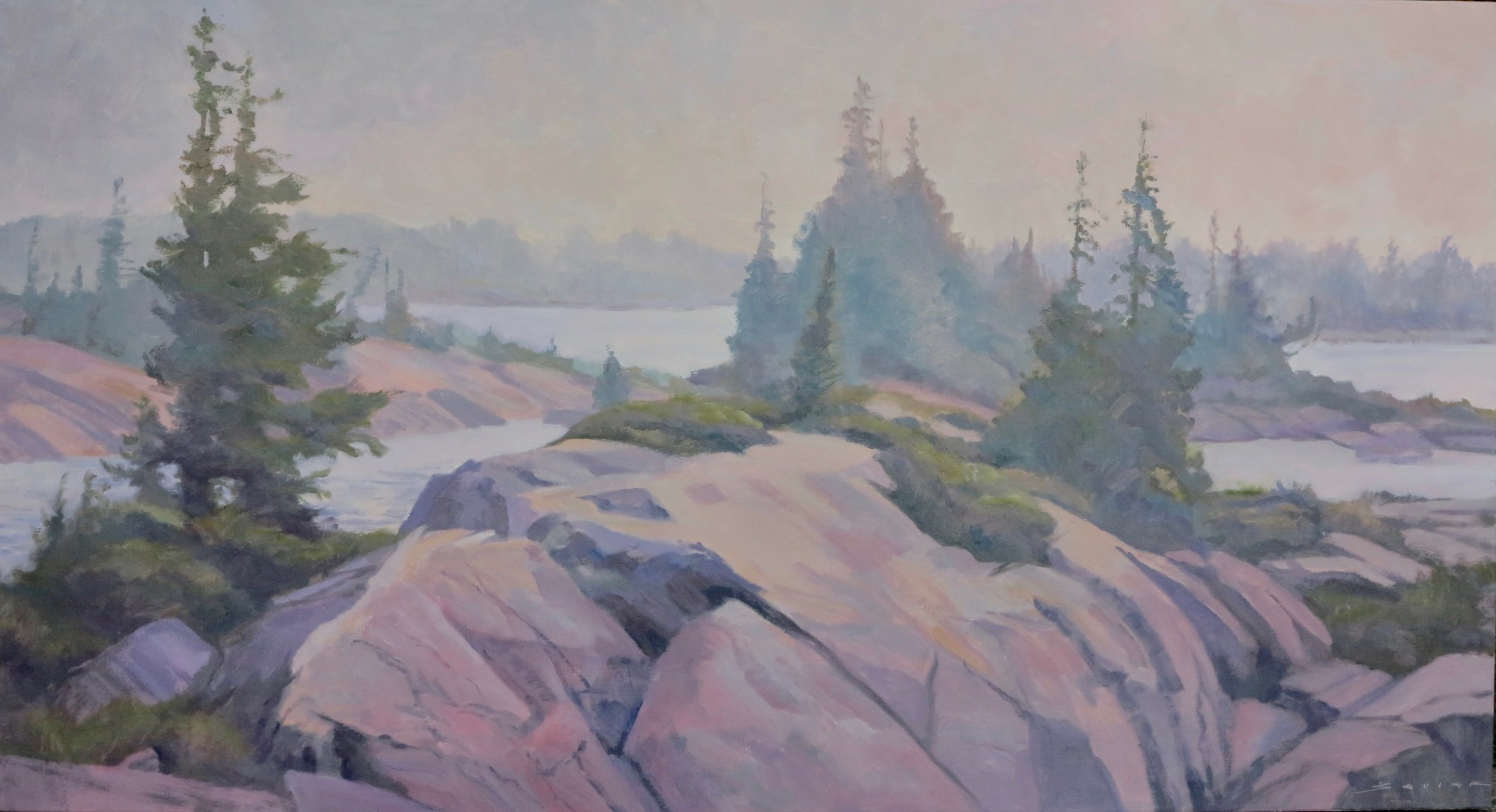 "Geoff""'s Rock, Geo. Bay  26"" x 48""  oil"