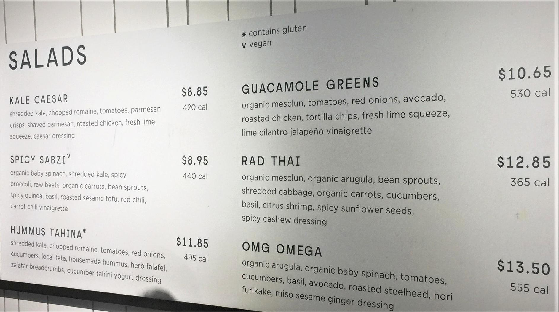 Wall menu in Sweetgreen's, Brooklyn, NY, May 2017
