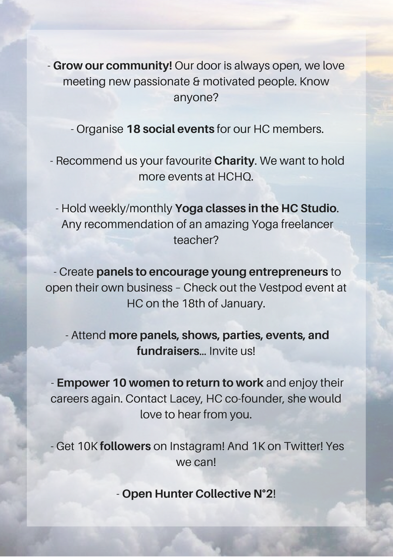 - Grow our community – our door is always open, we love meeting new passionate & motivated people. Know anyone_ - Organise 18 social events for our HC members. - Recommend us your favourite Charity – we want to hold .png