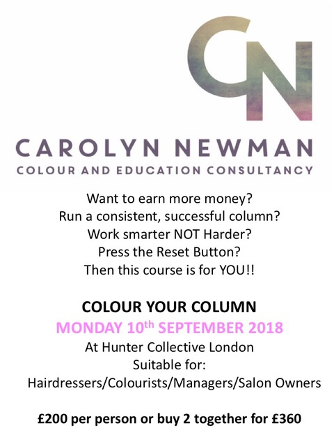 Colour Your ColumnMonday 10th September - This session focuses on your colour business, either with regard to your own column or in your salon. How you manage your day to achieve not only creative success but financial success. Guiding you to work smarter not harder in our ever changing industry.