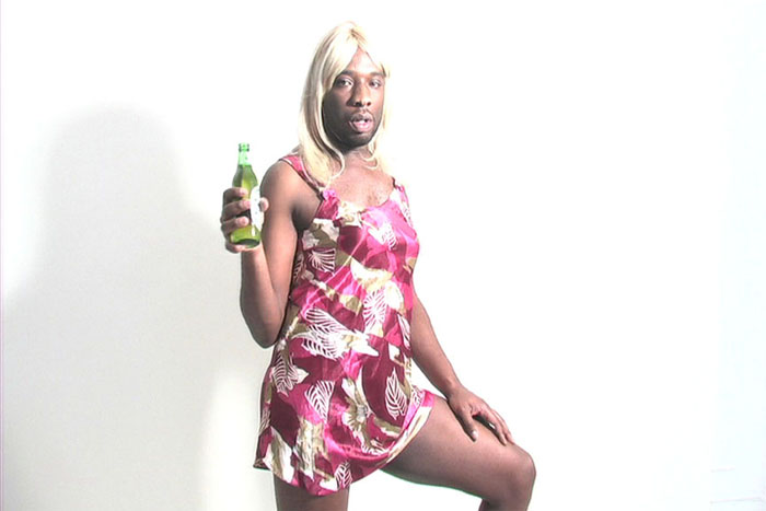 """Kalup Linzy as his character Katonya, from the music video for """"Chewing Gum"""" in  SweetBerry Sonnet  (Remixed) (2008).Copyright Kalup Linzy. Courtesy Electronic Arts Intermix (EAI)"""