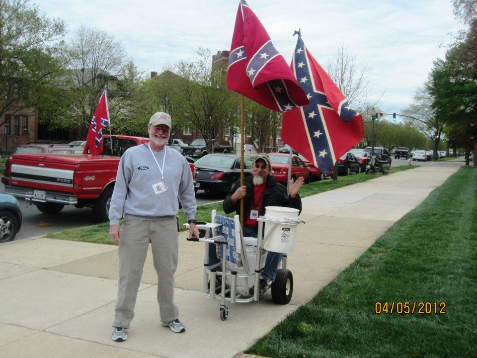 """Self-described """"Flaggers"""" protesting outside of the Museum of Fine Arts. Image from, and I shit you not, http://southernflaggers.blogspot.com/ ."""