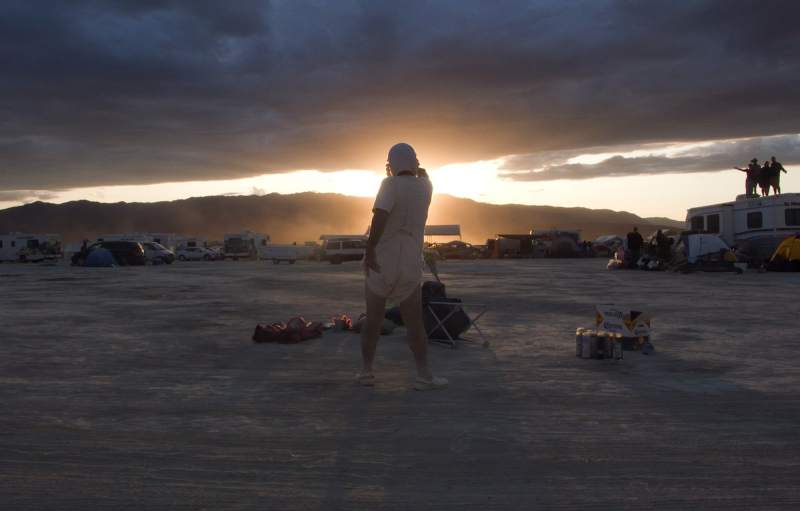 "Michael Smith as Baby Ikki at Burning Man, from ""A Voyage of Growth and Discovery"" (2009) with Mike Kelley, production still"