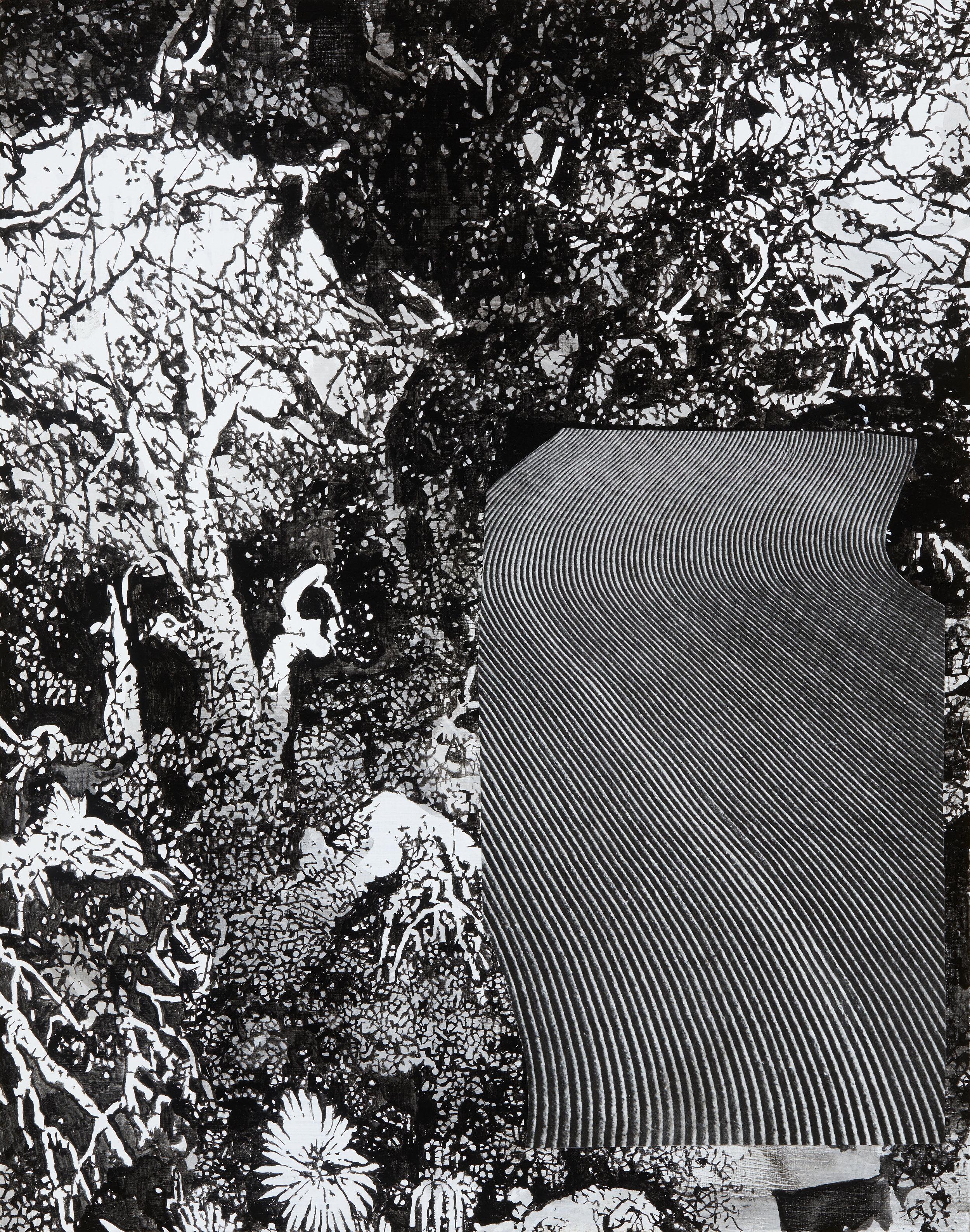 "Thomas J Gamble, Bussey Woods  (2017), collage and cel-vinyl on wood, 11 x 15"", debuting at ""VICIOUS CIRCLE"""