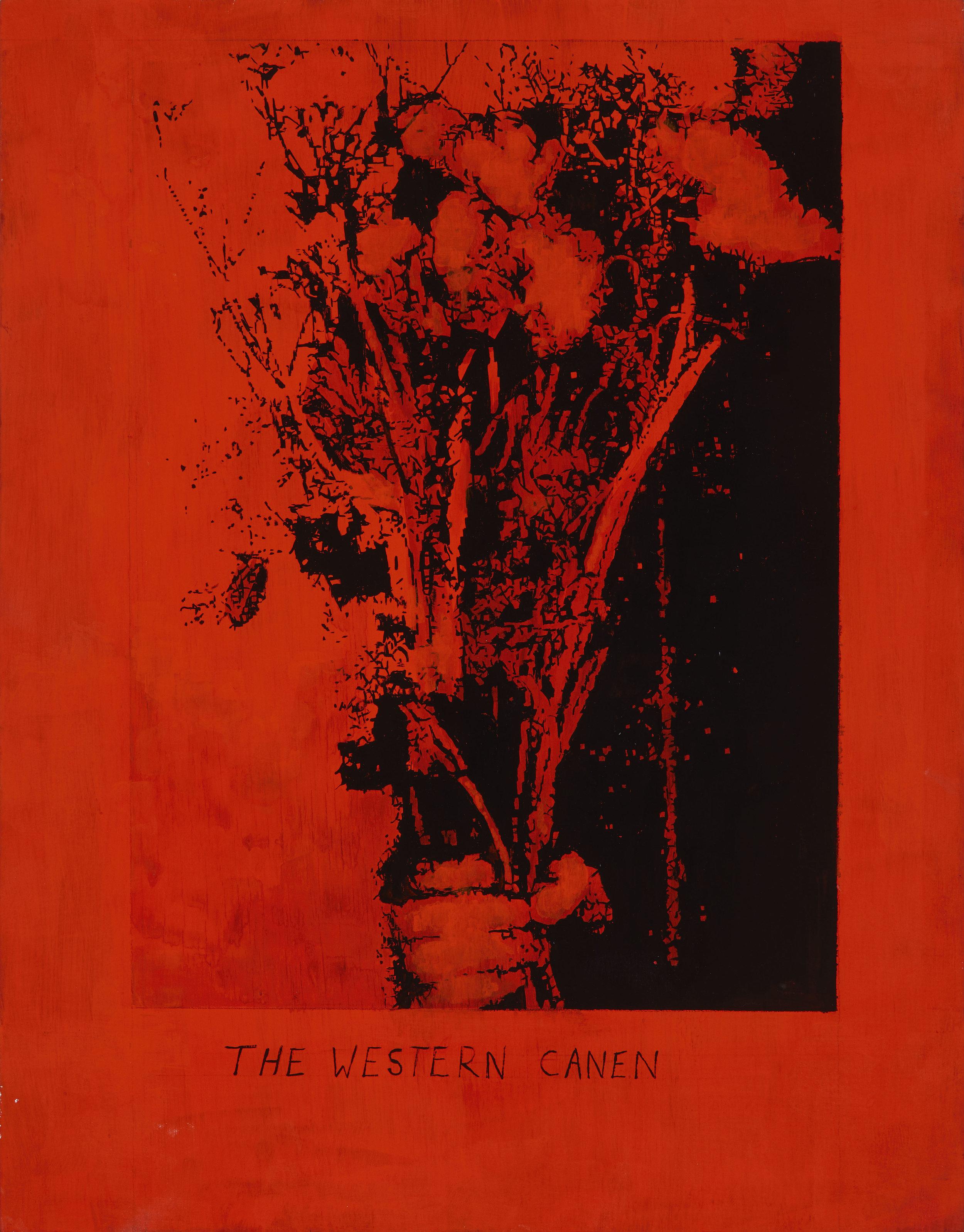 "Thomas J Gamble,  The Western Canen   (sic)  (2017), cel-vinyl on wood, 11 x 15"",debuting at ""VICIOUS CIRCLE"""