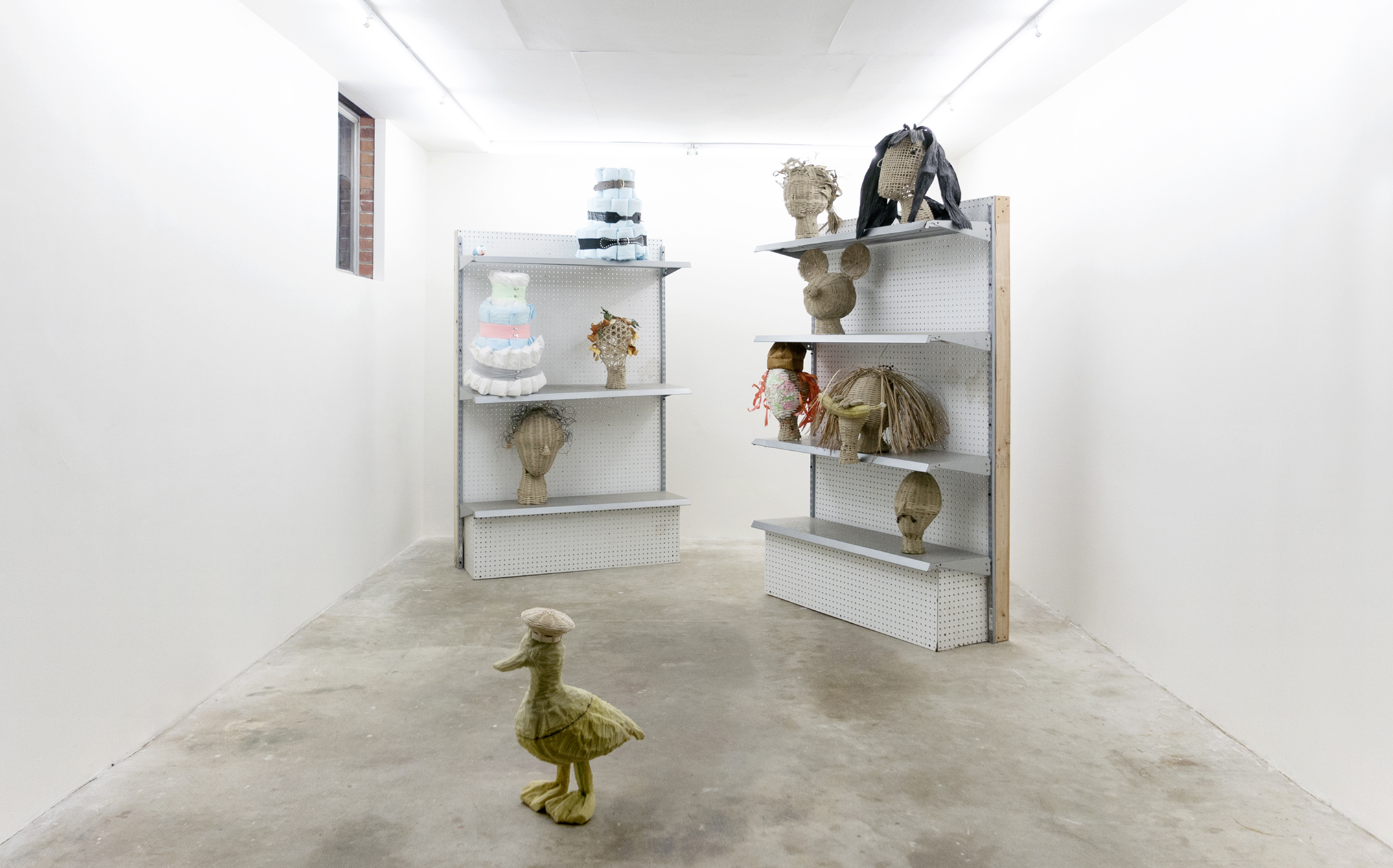 """Installation view of Dylan Spaysky's """"Wicker and Diapers"""" (2017), a solo exhibition at Good Weather in North Little Rock, AR"""