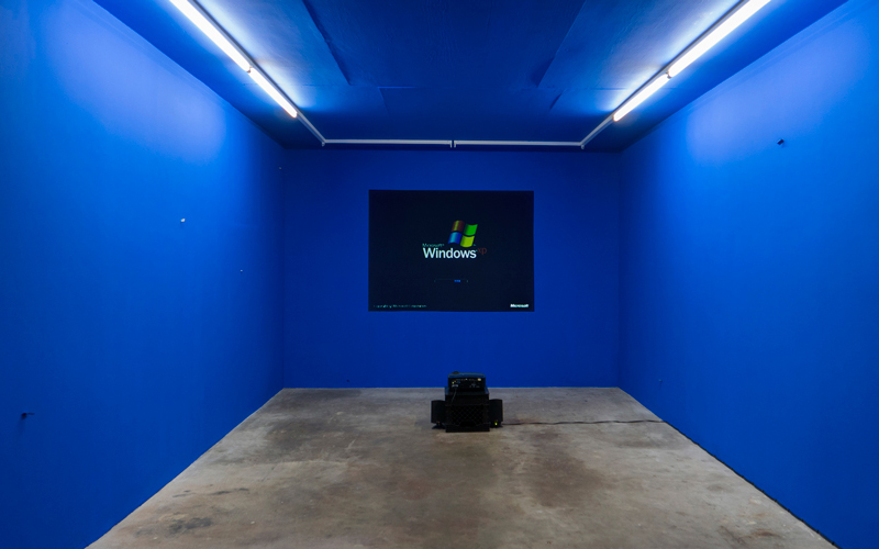 """Installation view of Sondra Perry's """"netherrrrrr"""" (2016), a solo exhibition at Good Weather in North Little Rock, AR"""