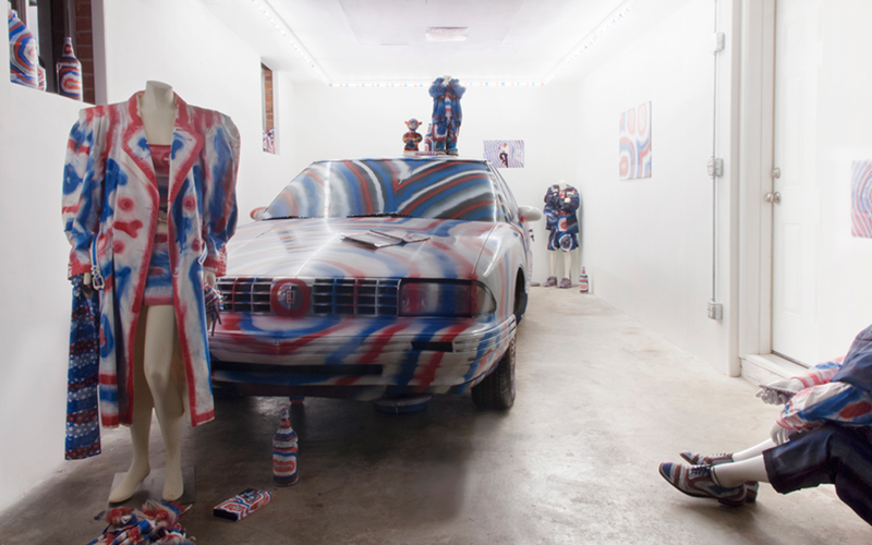 """Installation view of Matthew Kerkhof's """"My Psychedelic American Dream Garage"""" (2016), a solo exhibition at Good Weather in North Little Rock, AR"""