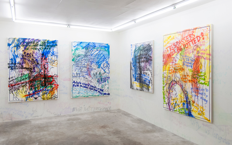 """Installation view of Willie Wayne Smith's """"Loose Lips and Forgotten Lines"""" (2015), a solo exhibition at Good Weather in North Little Rock, AR"""