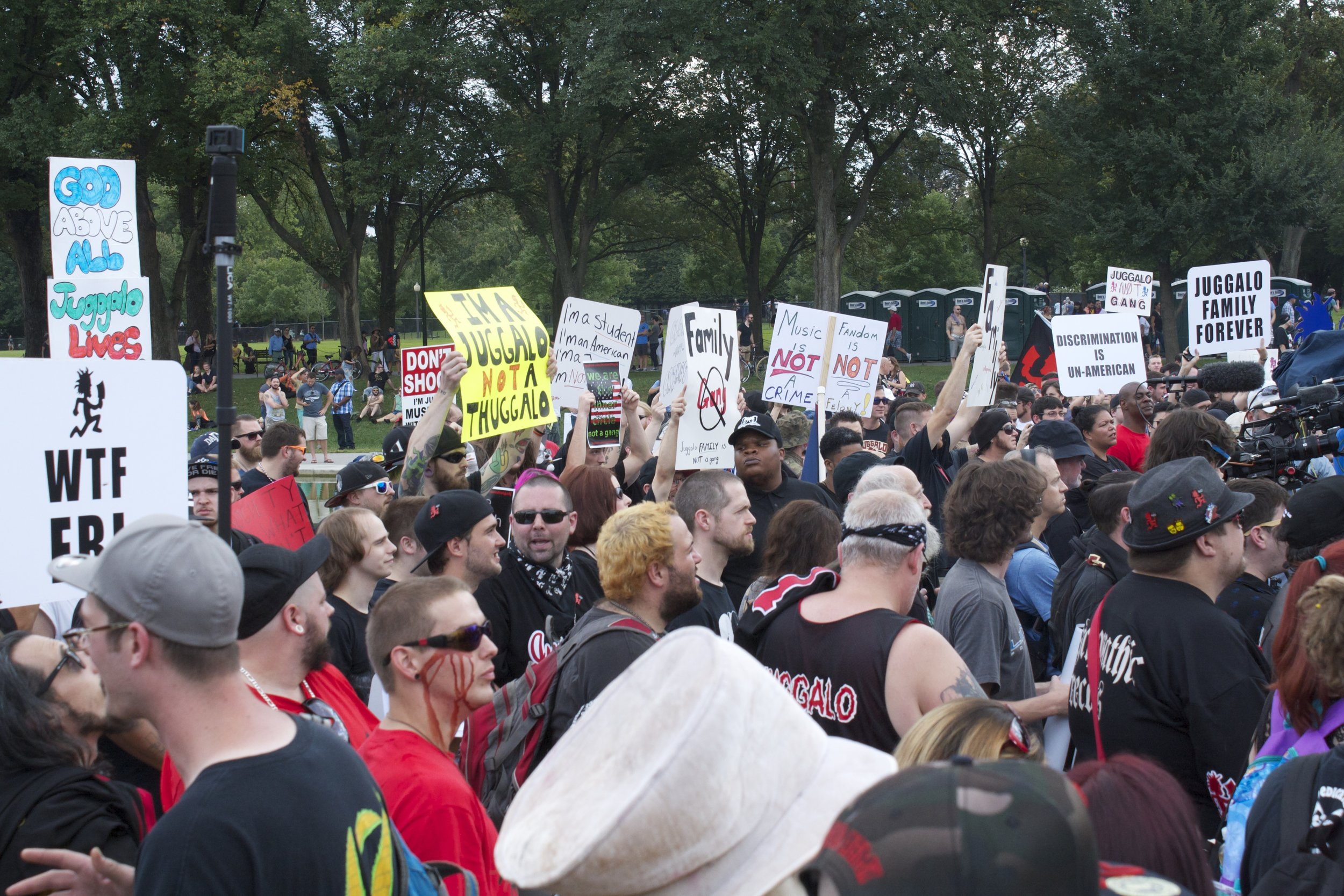 The packed crowd listening to testimonials from Juggalos who'd directly been affected by the gang designation. Photo: MW