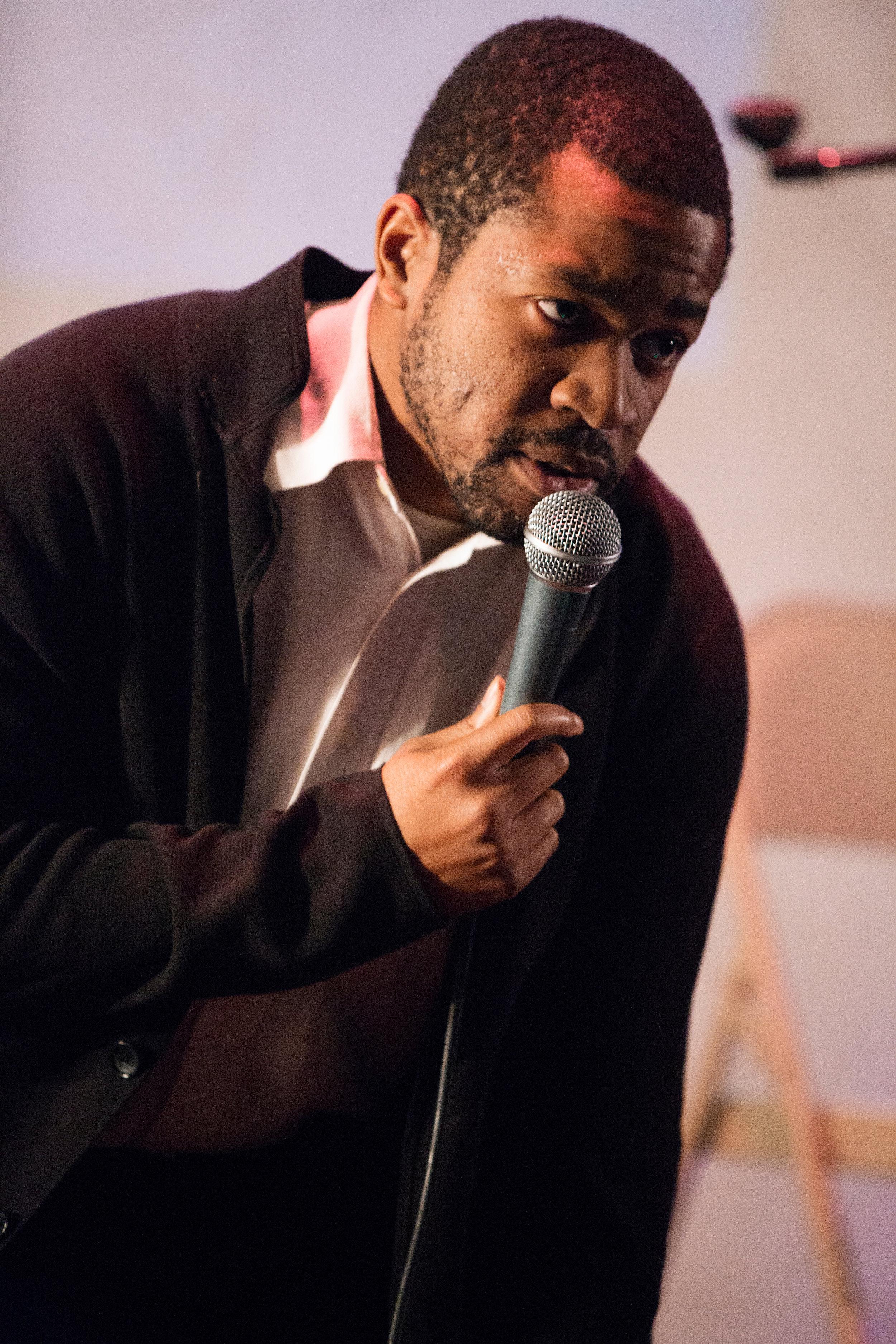Ikechukwu Ufomadu  performing at The Macaulay Culkin Show's One-Year Anniversary Show, 12/14/14, Shea Stadium, Brooklyn, NY, Photo: Mindy Tucker