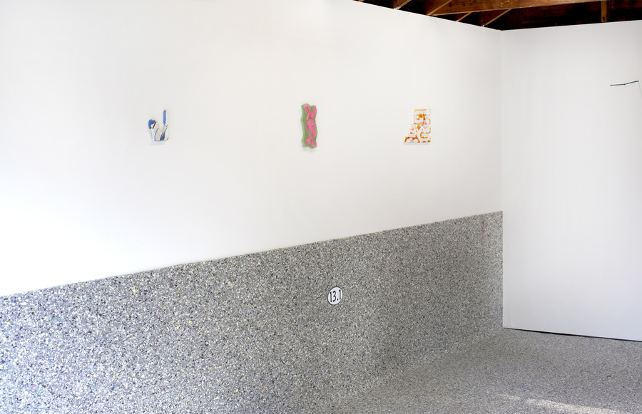 "Installation view of   ""No More Ideas About My Ideas""   (2016) featuring   Carlos Rosales-Silva  ,   Jeff Eaton  , and   Alyse Ronayne   at Sadie Halie Projects, Minneapolis, MN"