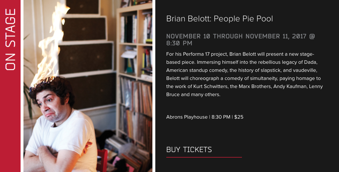 For Performa 17, Belott is staging   People Pie Pool  at Abrons Playhouse