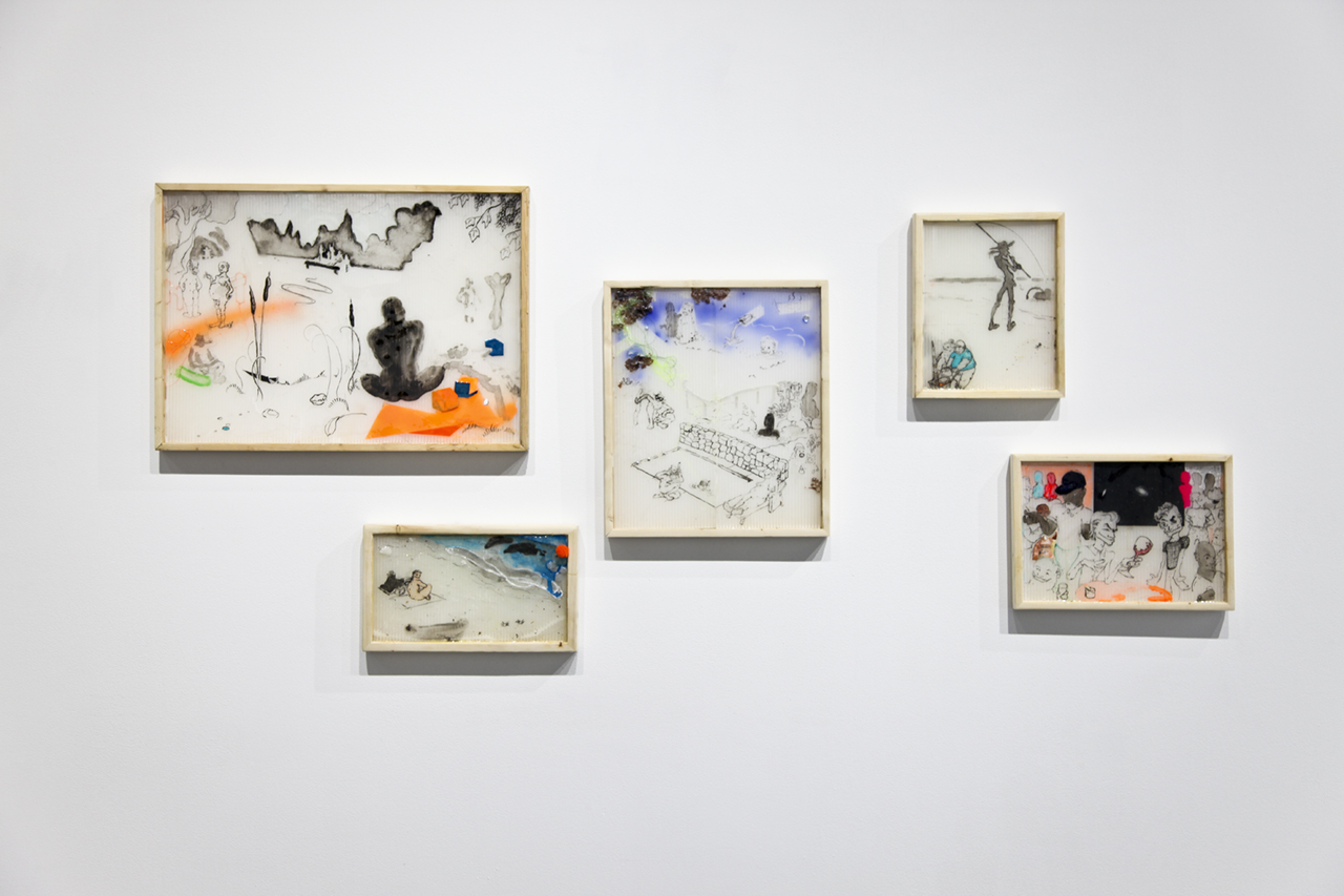 """Numerous works by  Rashawn Griffin  (all 2016), ink, acrylic, and mixed media on paper, various sizes, from the exhibition  """"Replacing Place,""""  curated by MK Guth, currently on view at Anytime Dept. in Cincinnati, OH"""