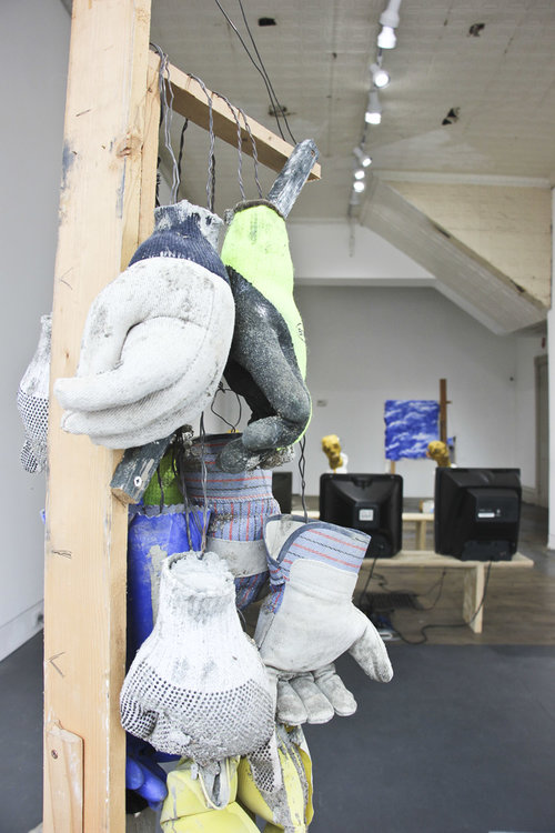 """Installation view of the two-person exhibition  """"The Barometric Pressure Is All Over the Place""""  (2017) by Laura Bernstein and Daniel J Glendening at Anytime Dept., Cincinnati, OH"""