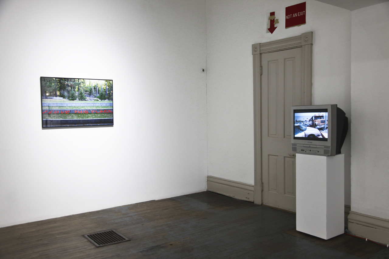 """Installation view of the group exhibition  """"Replacing Place""""  (2017) curated by MK Guth at Anytime Dept., Cincinnati, OH"""