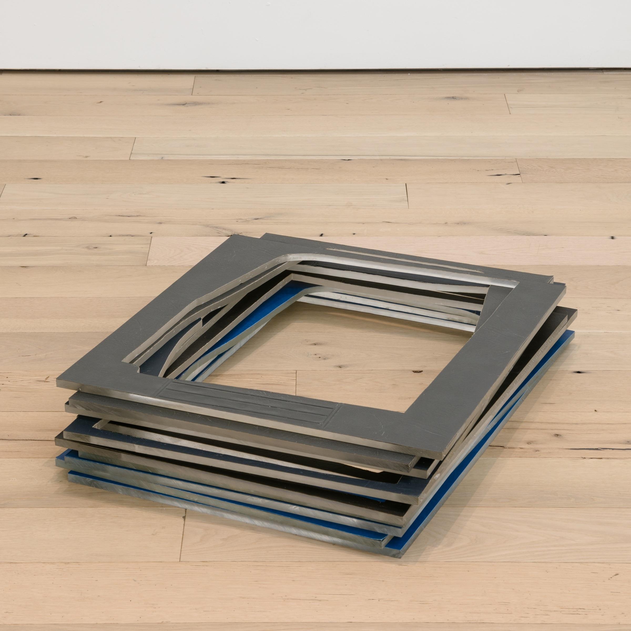 "Jessica Vaughn,  surplus   (2017), fabric scraps procured from manufacturer (09/2015-11/2016) on plexi, 29"" × 21 1/2"" × 1/2""; 25 1/2"" × 24 1/2"" × 1/2"" (framed); 32"" × 21 3/4"" (base)"