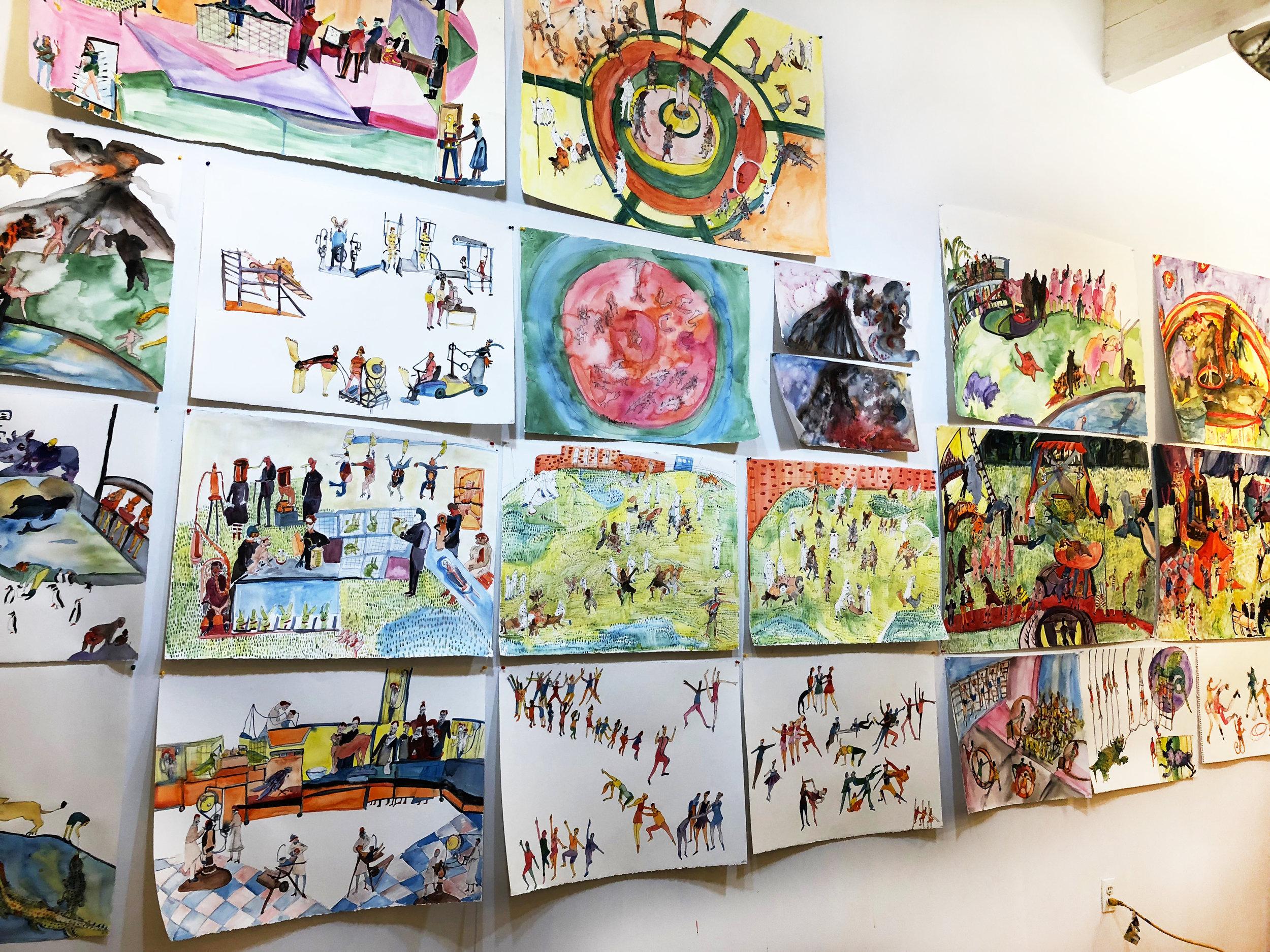 Bernstein's Wall-o-Watercolors in her studio