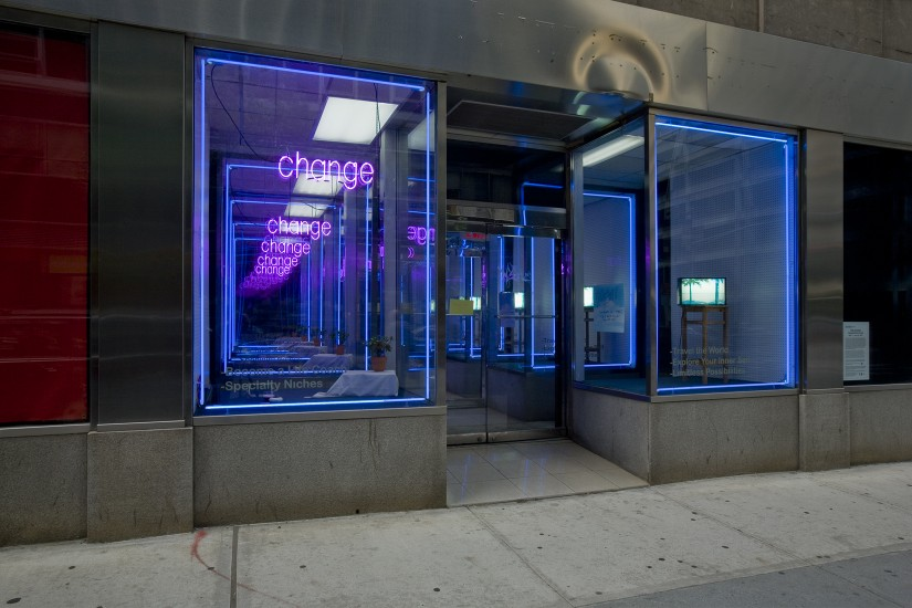 Potential Store Fronts  (2007), 9 x 15 x 30 feet, wood, plexi, paint, neon lights, mylar and other faux surfaces, light boxes, vinyl lettering, carpet, fake plants, exit signs, misc