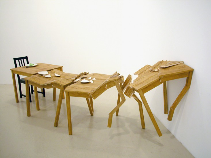 Crashing tables (moments crashing….I underestimated the consequences)  (2005), 33 x 48 x 144 inches, balsa, pine, china, glue, silverware, napkin