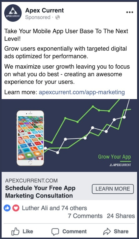 An example of an Apex Current FB ad for mobile app marketing services.