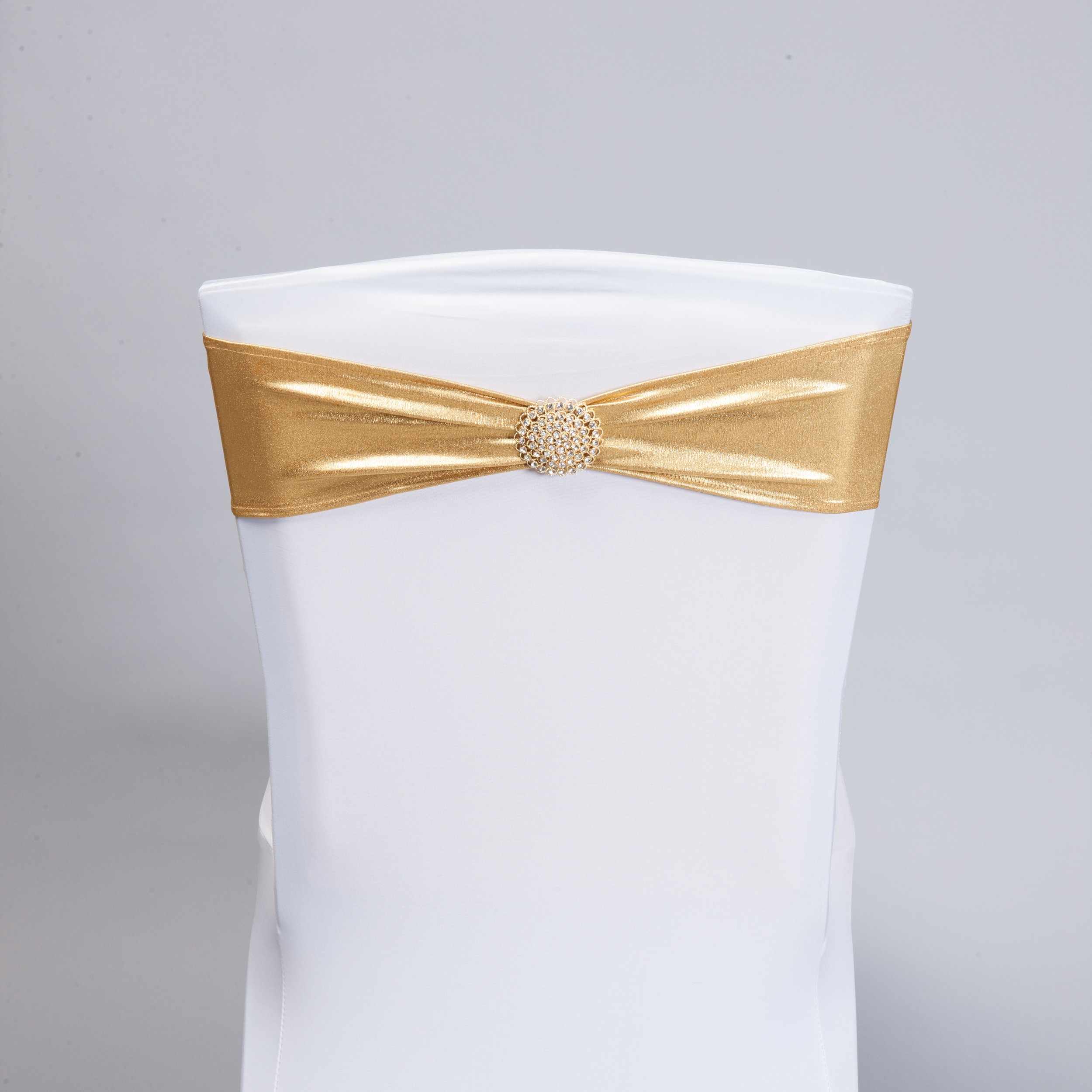 Metallic Gold Spandex Band with Gold Bling Pin