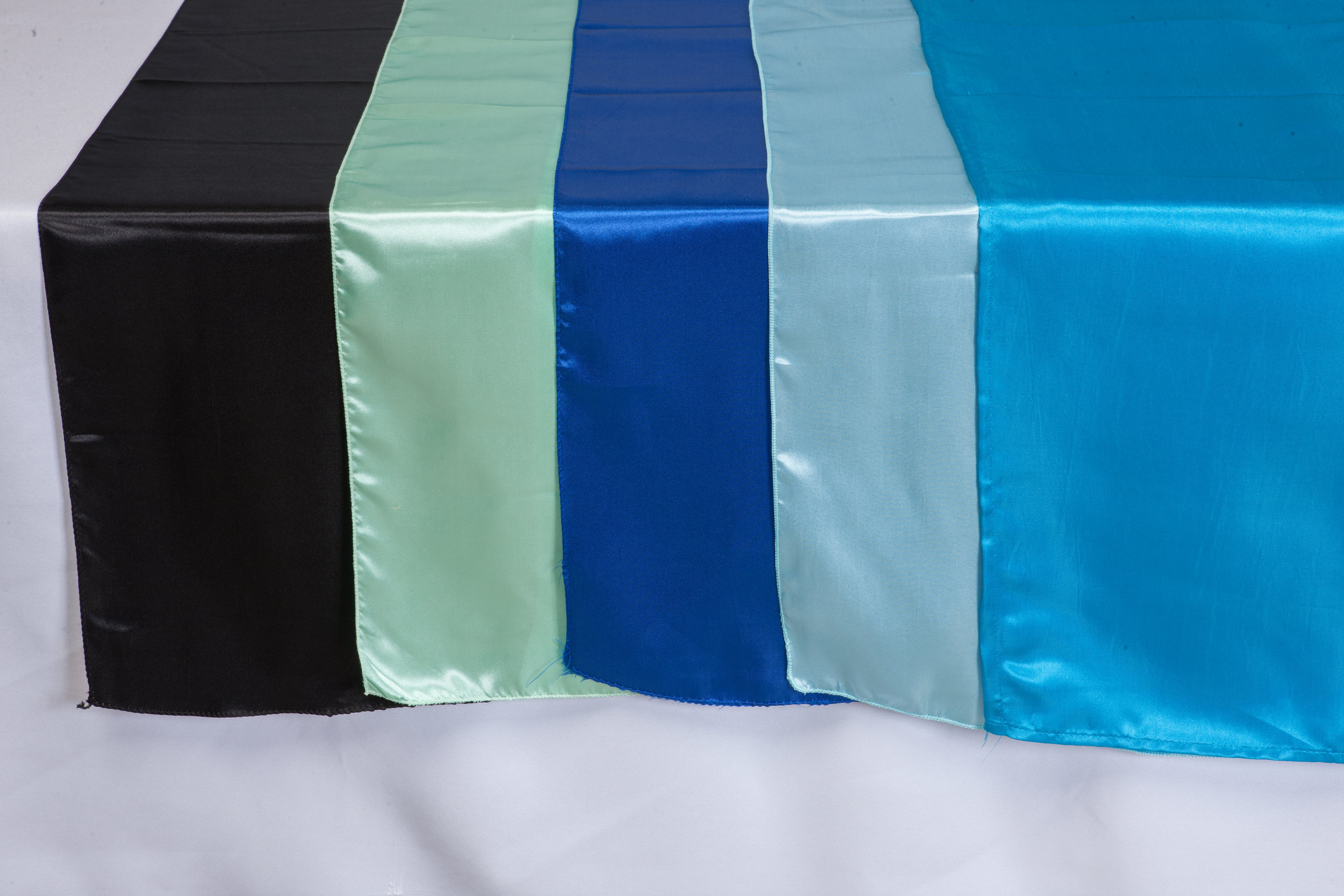 Black, Mint, Royal Blue, Baby Blue, Pool Blue Satin