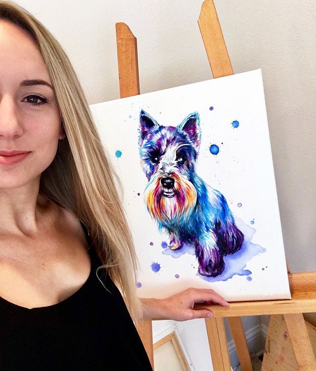 Schnauzer Selfies 🐶🤗 . . . . . . . . . . . . #LindsayMichelleART #petportrait #memorialpainting #petpainting #dogpainting #dogart #homedecor #commissioned #custom #animalpainting #houstonartist #animalart #animalartwork #art #artist #artwork #watercolor #ink #instaart #instaartoftheday #artcollective #artistofinstagram #worldofartists #arthomepage #dailyarts #artwork_in_studio #artfeature