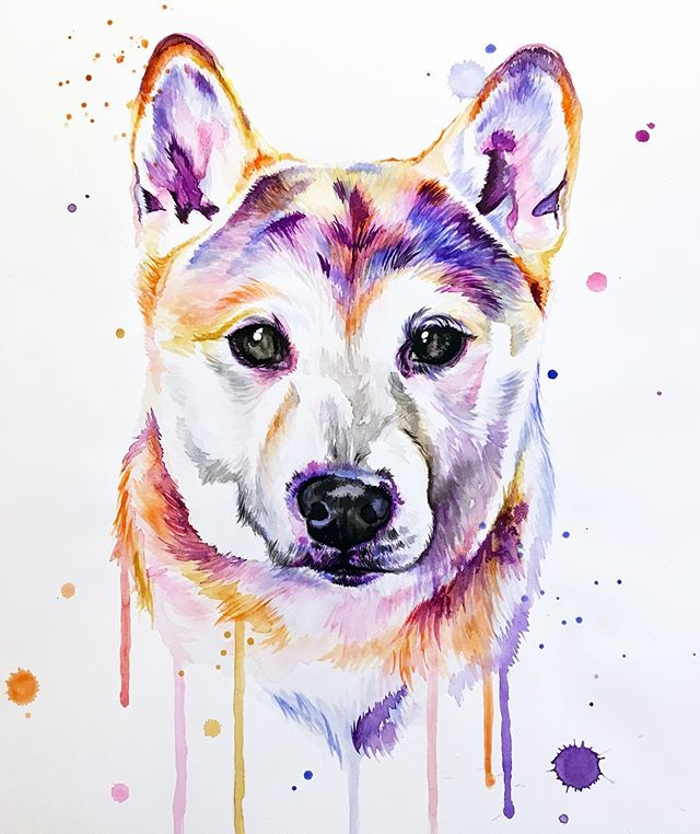 Have a beautiful Monday 🧡 . Swipe to see reference photo 👉 . . . . . . . . . . #LindsayMichelleART #petportrait #memorialpainting #petpainting #dogpainting #dogart #homedecor #commissioned #custom #animalpainting #houstonartist #animalart #animalartwork #art #artist #artwork #watercolor #ink #instaart #instaartoftheday #artcollective #artistofinstagram #worldofartists #arthomepage #dailyarts #artwork_in_studio #artfeature