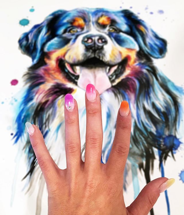 When your nails match your paintings... ✨💅💁‍♀️🌈 . . . . . . . . . . . . #LindsayMichelleART #BerneseMountainDog #petportrait #memorialpainting #petpainting #dogpainting #dogart #homedecor #commissioned #custom #animalpainting #houstonartist #animalart #animalartwork #art #artist #artwork #watercolor #ink #instaart #instaartoftheday #artcollective #artistofinstagram #worldofartists #arthomepage #dailyarts #artwork_in_studio #artfeature