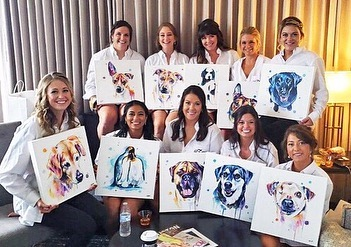 So grateful to have these girls in my life and stand by me on my most special day! 👰💖 This is mainly way I haven't been able to take any new custom requests - I've been a little busy 😝 Painted for all my bridesmaids of either their fur babies or favorite animal - challenging but so worth it for them! 🌈✨