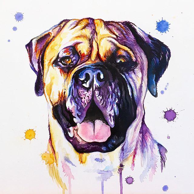 The wrinkles 😍 . . . . . . . . . . . . #LindsayMichelleART #dog #gift #present #surprise #mastiff #bullmastiff #gentlegiant #custom #dogart #dogpainting #animalpainting #houstonartist #animalart #animalartwork #art #artist #artwork #watercolor #ink #instaart #instaartoftheday #artcollective #artistofinstagram #worldofartists #arthomepage #dailyarts #artwork_in_studio #artfeature