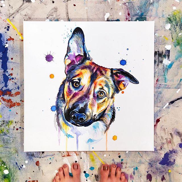 This pup is as cute & sweet as he looks 😍. His floppy ear is everything 🧡 . . . . . . . . . . . . #LindsayMichelleART #dog #pup #presebt #surprise #custom  #dogart #dogpainting #pupart #petportrait #animalpainting #houstonartist #animalart #animalartwork #art #artist #artwork #watercolor #ink #instaart #instaartoftheday #artcollective #artistofinstagram #worldofartists #arthomepage #dailyarts #artwork_in_studio #artfeature