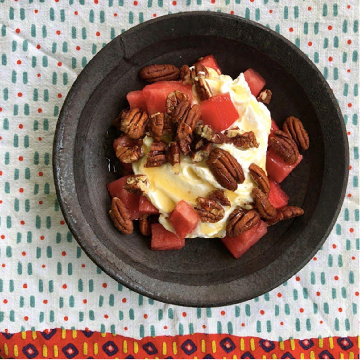SUMMER WATERMELON! A few of may favorite ways to eat it include:    — Watermelon with plain greek yogurt, pecans, and honey    — Watermelon with feta, fresh basil, balsamic reduction (or glaze, and olive oil