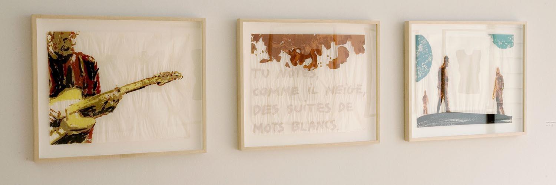 Mots blancs  ( White Words ), 2009 sérigraphie à l'eau sur papier Gompi /  silkscreen print on Gompi paper, 3 éléments