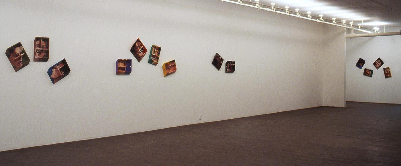 Les voisins ( The Neighbours ), 1990-91 acrylique sur contreplaqué, 13 éléments /  acrylic on plywood, 13 elements  vue de l'installation /  installation view , Galerie Chantal Boulanger, 1991
