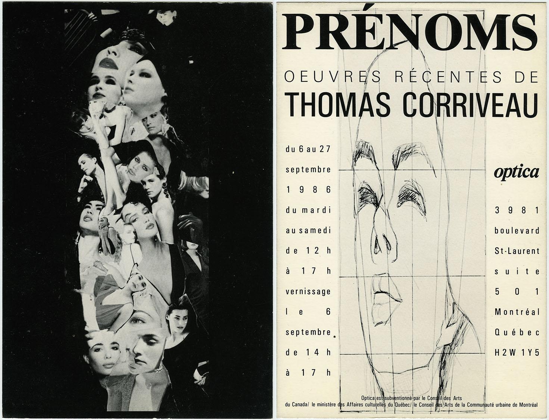 Prénoms ( First Names ), Optica, Montréal, 1986 Carton d'invitation /  Invitation Card
