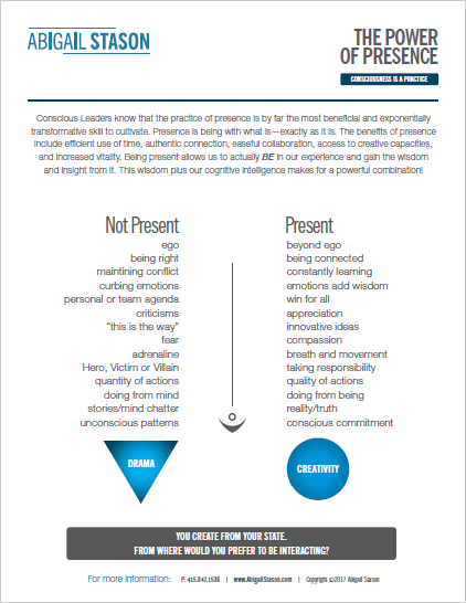 The Power of Presence  (PDF) Recognize the qualities of presence