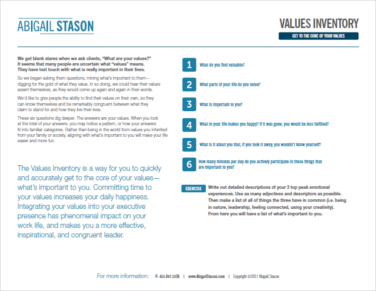 Values Inventory  (PDF) Get to the core of what is important to you