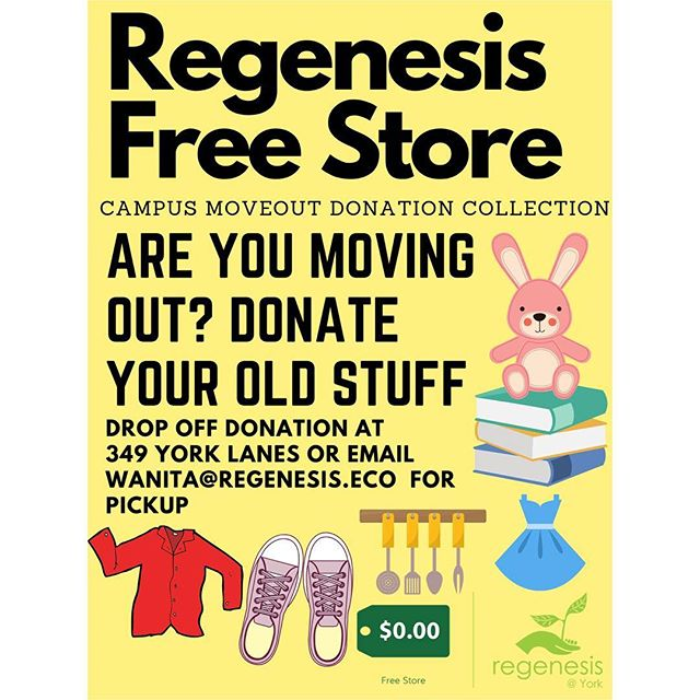 Are you moving out of your campus residence? Donate your old stuff to us! Our Regenesis Free Store is accepting donations throughout April. Drop off donations at York Lanes 349 or look out for donation tables at you resident lobby. #yorkuniversity #donations #zerowaste #reusable #donate #yorku #sustainable #resident #students #campuslife #moveout #april #school #campus #donationsneeded