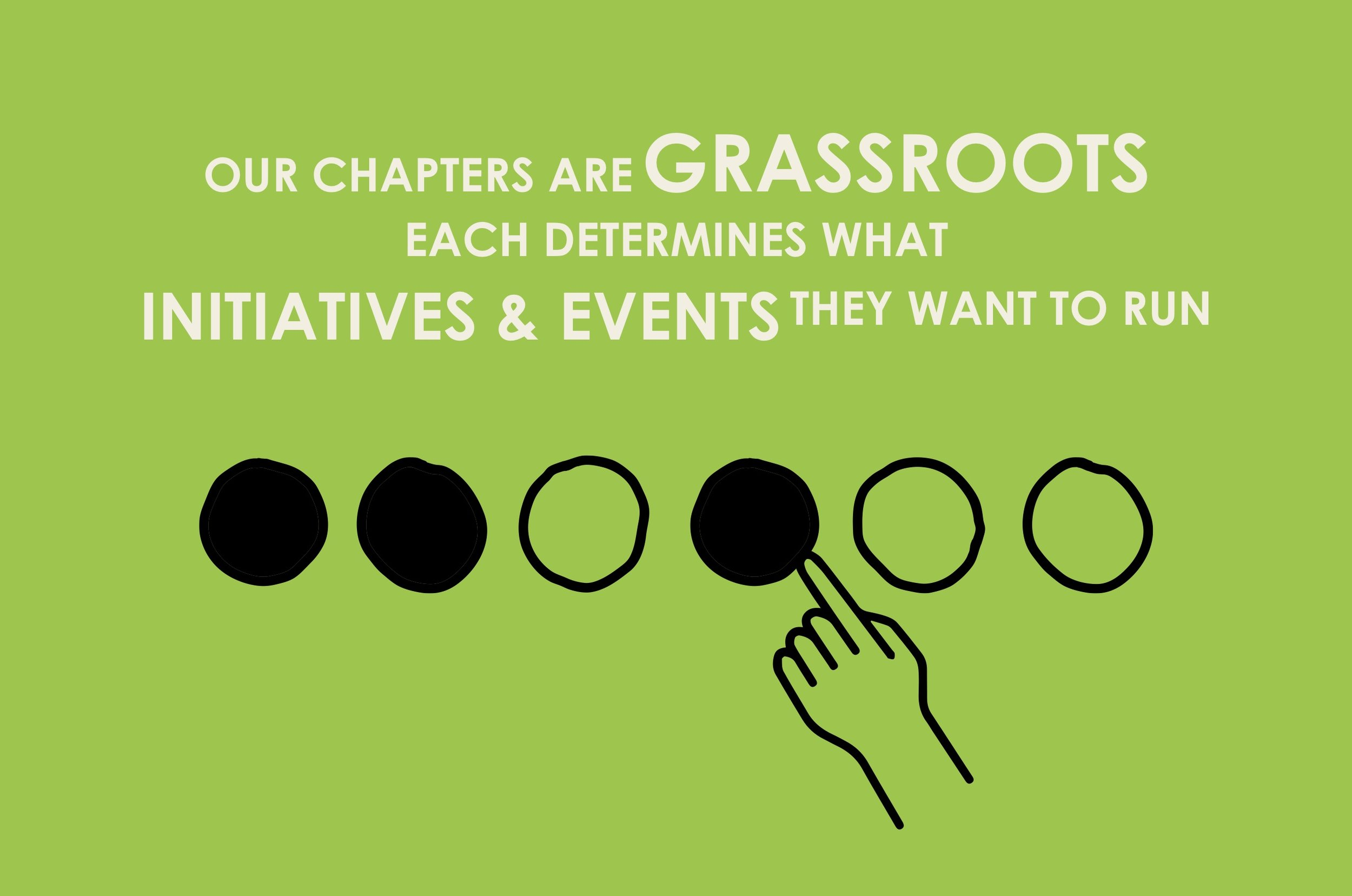 Our chapters are grass roots, each determines what initiatives and events they want to run.
