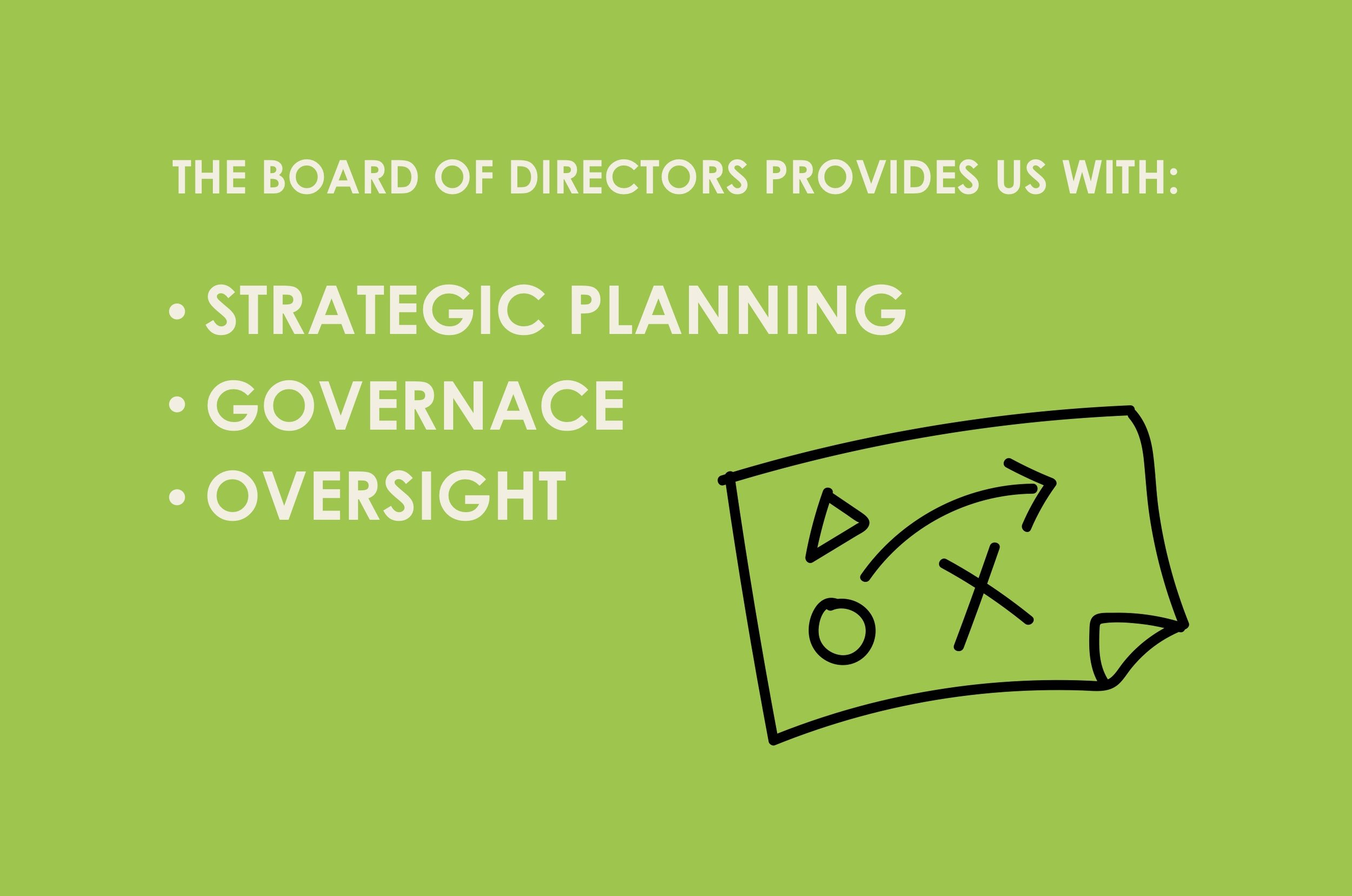 The board of directors provide us with, strategic planning, governance, oversight.