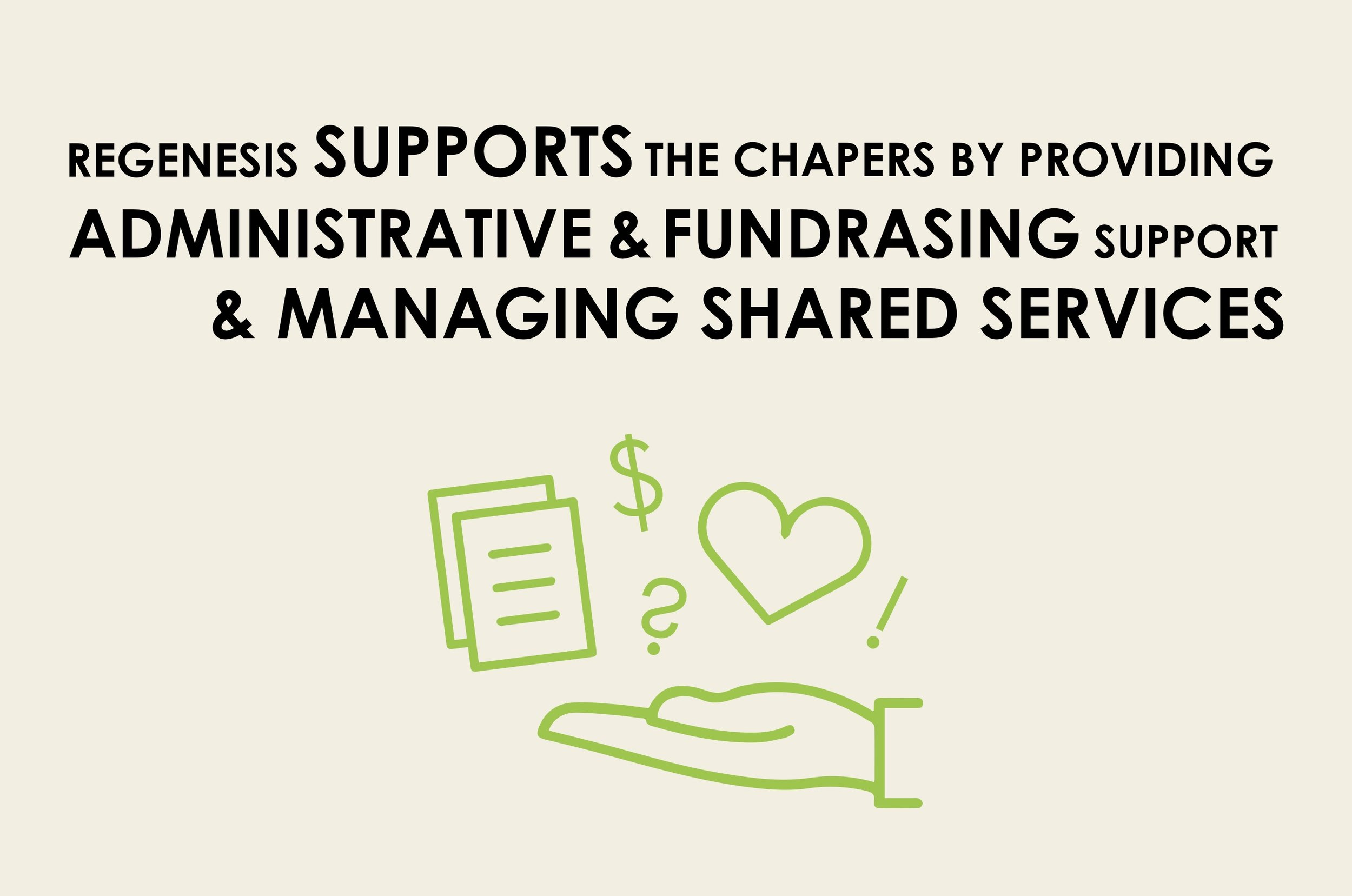 Regenesis supports the chapters by providing administrative and funding support.