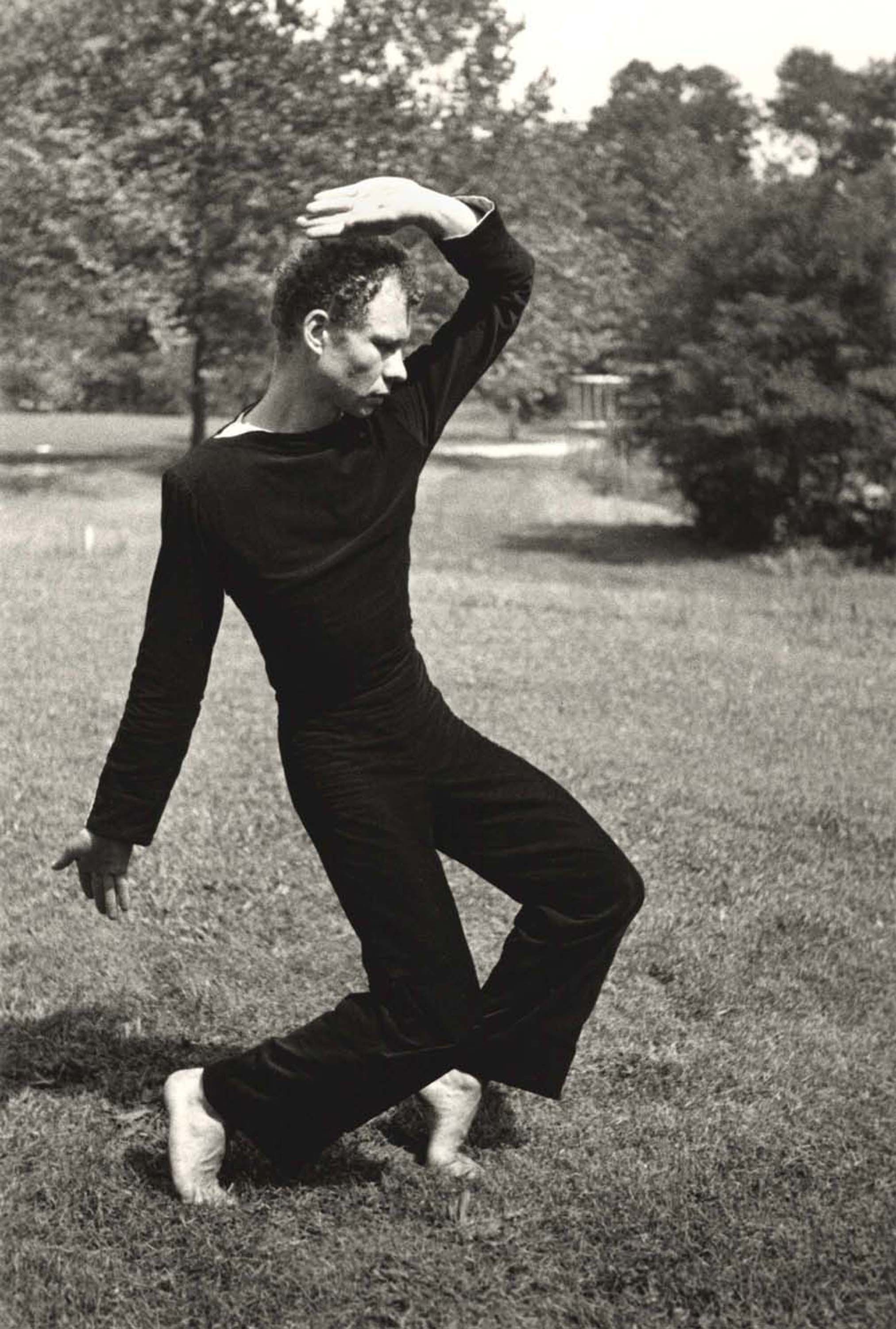Merce Cunningham at Black Mountain College, 1948. Photo: Hazel Larsen Archer, courtesy of the Estate of Hazel Larsen Archer and the Black Mountain College Museum + Arts Center.