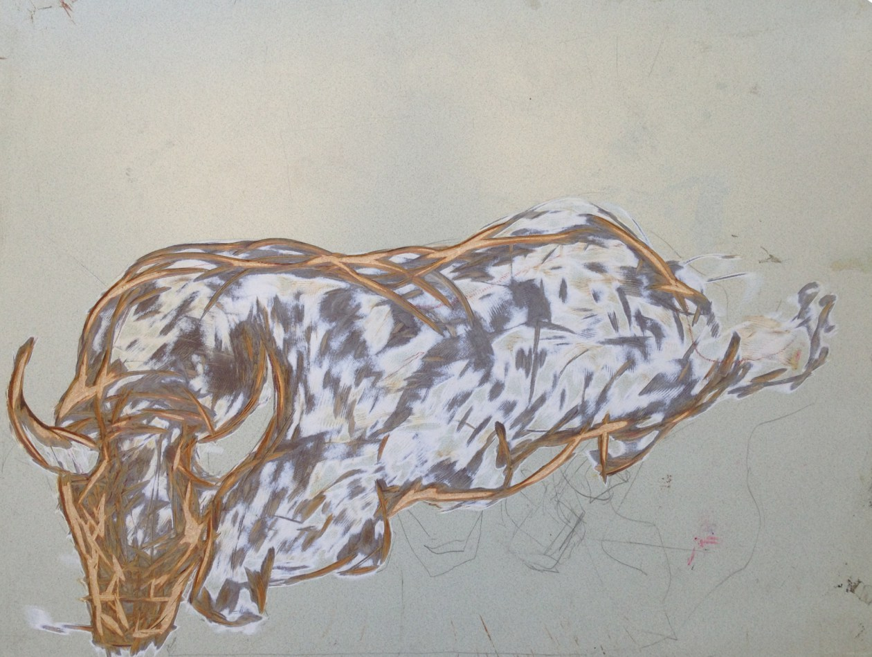"John Preus. ""Mascot,"" 2014. Carving on student desk top."