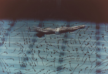Howardena Pindell, Video Drawings: Swimming , 1975. Chromogenic development print; framed: 13 15/16 × 16 1/16 in. (35.4 × 40.8 cm). Collection Museum of Contemporary Art Chicago, Anixter Art Acquisition Fund, 2016.6. Courtesy the artist and Garth Greenan Gallery, New York.